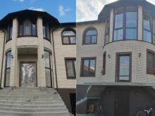 Остекление коттеджа окнами с профилем из ПВХ (до и после остекления)