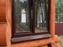 Установка распашного ПВХ-окна в деревянном доме, Балашиха